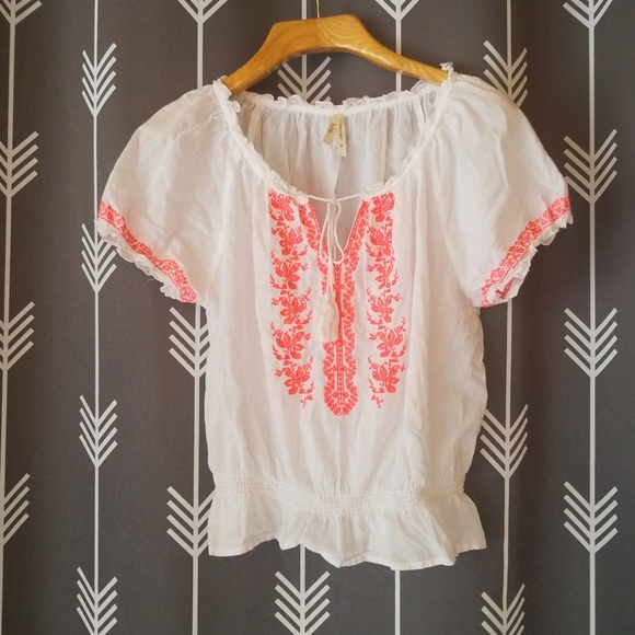 Truth Nyc Tops Cute Boho Peasant Shirt With Pink Embroidery Poshmark
